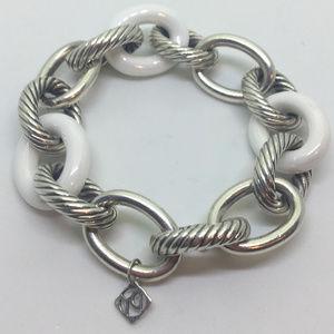 David Yurman Madison White Enamel Cable Bracelet